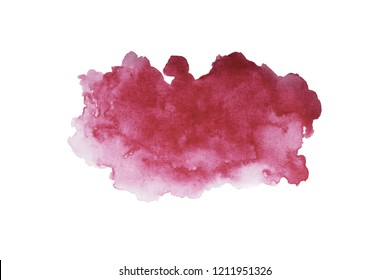Red wine stain isolated on white background. Dark red mark, watercolour drawing. Realistic wine texture watercolor grunge brush.