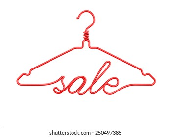 Red wire clothes hangers with message - SALE. 3D render isolated on white background.