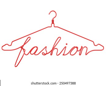 Red wire clothes hangers with message - FASHION. 3D render isolated on white background.