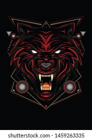 Red wolf, wolves vector, head wolf illustration with dark style.