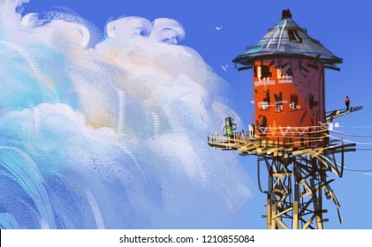 Red wood tower against blue sky with puffy clouds, digital illustration art painting design style.