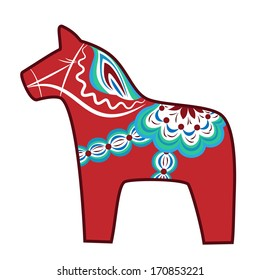 Red wooden horse of Dalarna - favorite national symbol of Sweden