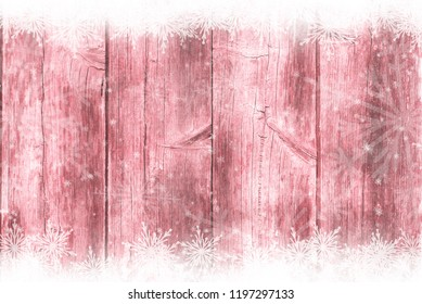 Red wooden table, snowy winter background, texture
