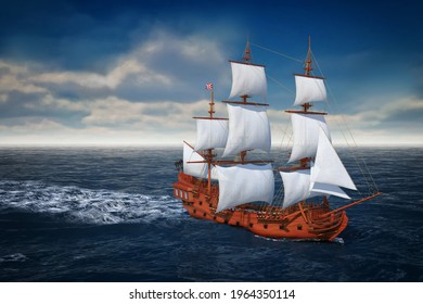Red Wooden Vintage Tall Sailing Ship, Caravel, Pirate Ship or Warship in Open Ocean extreme closeup. 3d Rendering