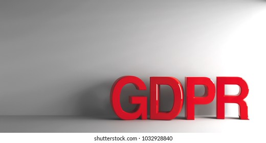 Red word GDPR - General Data Protection Regulation - on grey background, three-dimensional rendering, 3D illustration