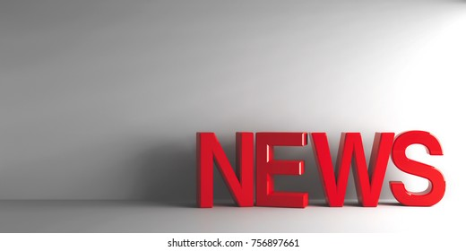 Red word News on grey background, three-dimensional rendering, 3D illustration