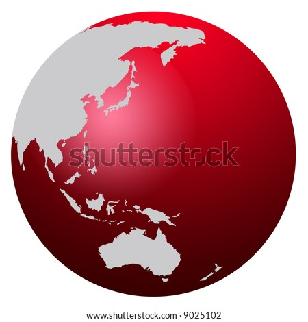 Red World Map Globe Asia Australia Stock Illustration 9025102