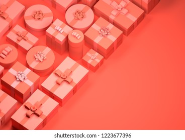 Red wrapped up christmas presents background design. 3D Illustration