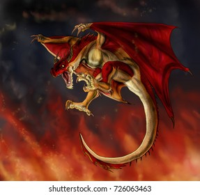 Red Wyvern flying with fire