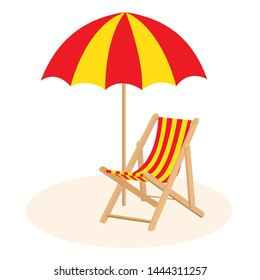 Red and yellow beach chair with umbrella icon isolated on a white background