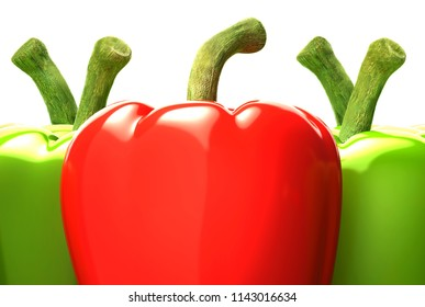 Red and yellow bell peppers on a white background,3D illustration