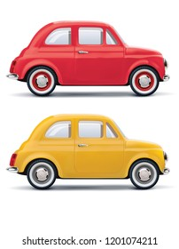 Red an yellow cars isolated on white. 3d illustration
