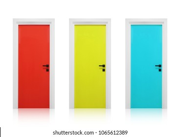 Red, yellow and cyan doors isolated on a white background