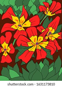 Red and Yellow Flowers with brown soil background