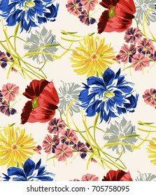 Red and yellow flowers pattern. . for textile, wallpaper, pattern fills, covers, surface, print, gift wrap, scrapbooking, decoupage.Seamless pattern