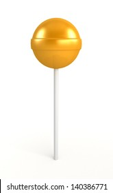 Red, yellow and green lollipop isolated on white background.