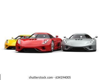 Red, yellow and grey supercars closely racing - 3D Illustration