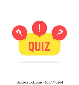 red and yellow quiz button. concept of creative tv show, quizz template, competition, matters, issue, entertainment. flat style trend modern quiz logo design illustration on white background