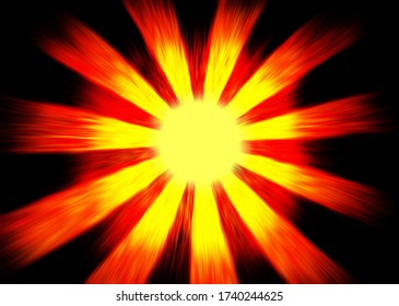 Red and yellow sunburst on a black background