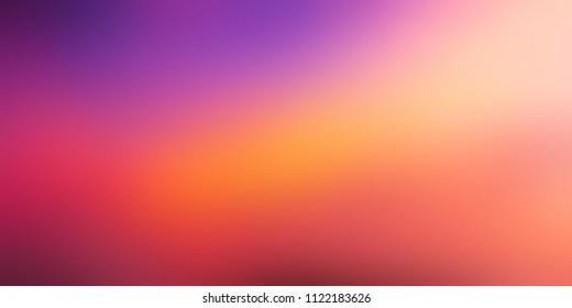 Red, yellow, violet gradient empty background. Vibrant abstract texture. Dusk sky blurred template.
