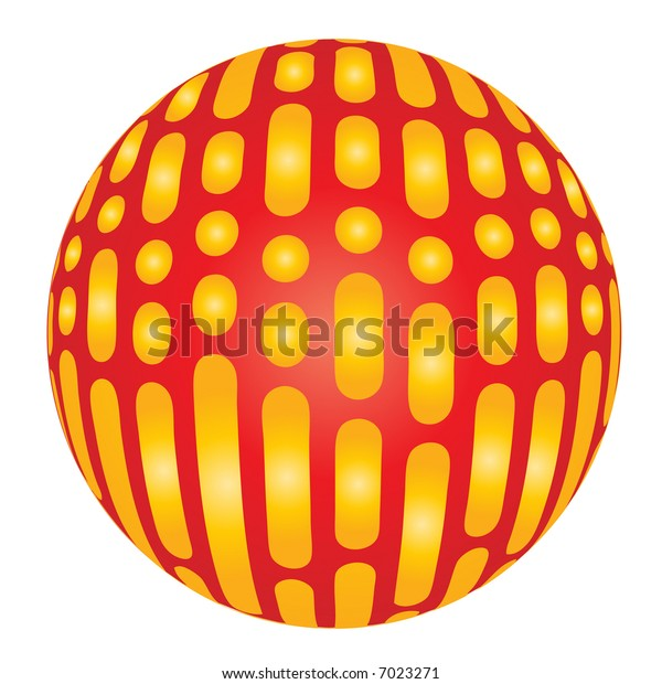 Red and yellow xmas ball - graphic illustration