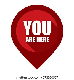 Red You Are Here Map Pointer Icon Isolated on White Background