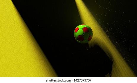 Red-Green Soccer ball on the white wall under slit light. 3D illustration. 3D high quality rendering.