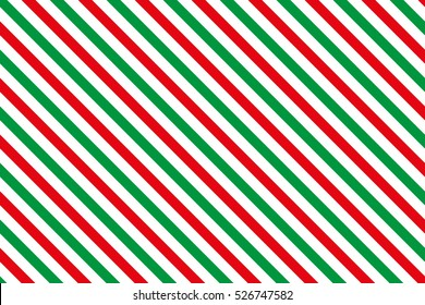 Red-green stripes on white background. Striped diagonal pattern  illustration Christmas or winter theme Geometric pattern