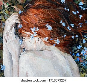 Red-haired beauty, a young girl sleeps and dreams on the field among different summer herbs and blue wild flowers. Oil painting on canvas.