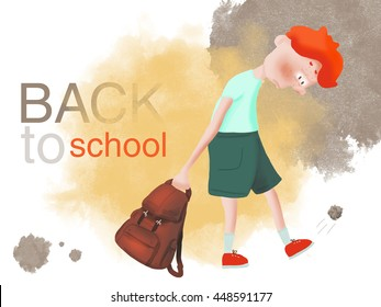 Red-haired boy bully does not want to go to school