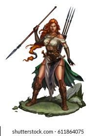 Red-haired girl warrior with a spear on rock