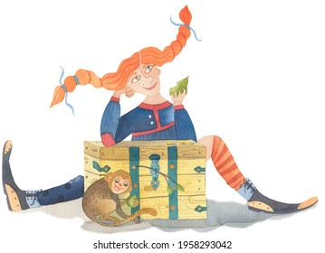 Red-haired Pippi Longstocking is sitting behind an old chest holding a pear in her hand and daydreamingly smiling. A small monkey in front of the chest is also holding another pear and smiling
