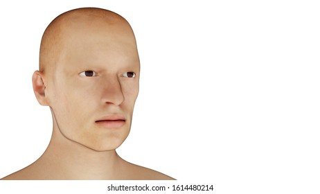 redhead man portrait on white background 3D illustration