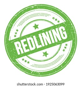 REDLINING text on green round grungy texture stamp.