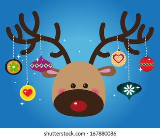 Red-Nose Reindeer with Ornaments on Antlers