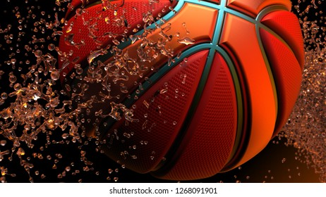 Red-Orange Basketball of red particles under orange lighting. Basketball consists of small circles and dots. 3D illustration. 3D high quality rendering.