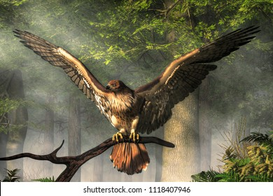 A red-tailed hawk spreads its wings as it perches on a branch in the forest.  One of the most well known birds of prey. 3D rendering