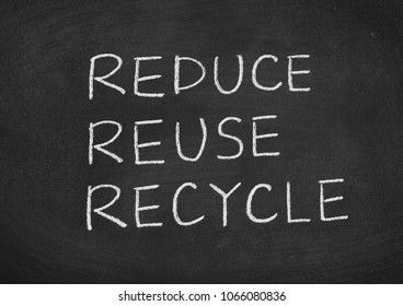 reduce reuse recycle concept text on a blackboard background