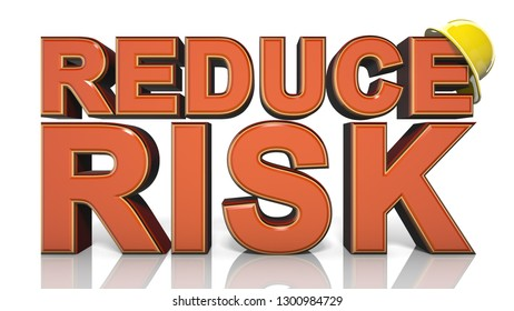 Reduce risk workplace health and safety welfare of people at work title  - 3D illustration render