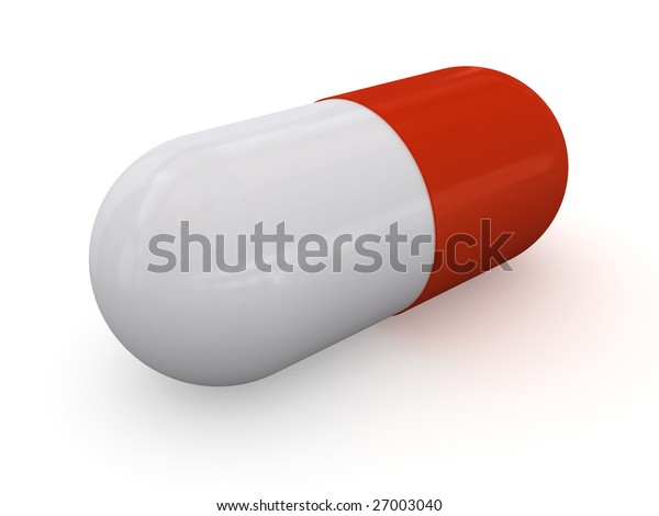 Red-white pill. Isolated on white background.