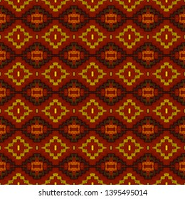 Red,Yellow seamless embroidery pattern. Ikat ethnic ornament. Seamless striped pattern. Geometric in Aztec style. Figure tribal embroidery.Tribal ethnic texture. Arabian, Scandinavian,Mexican pattern.