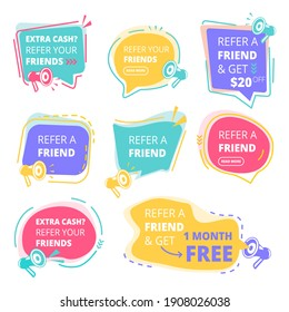 Refer friend badges. Abstract graphic geometrical promotional emblem business friendly concept