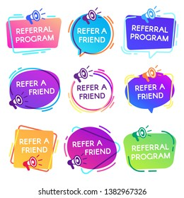 Refer friend badges. Referral program badge, salesperson megaphone marketing sticker and refer friends shopping label. Business referral recommendations or suggestions program  isolated icon set
