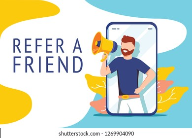 Refer a friend illustration concept, people shout on megaphone with refer a friend word, can use for landing page, template, ui, web, mobile app, poster banner or flyer. Digital business