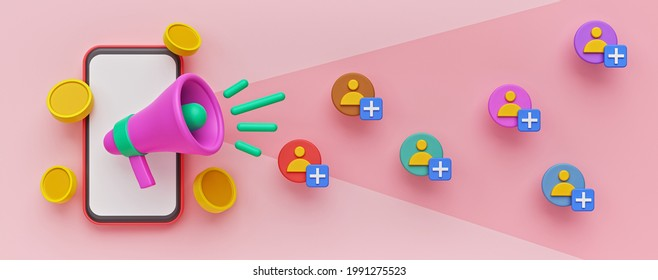 Refer a friend marketing concept. smartphone, megaphone, coins. colorful banner. 3d rendering