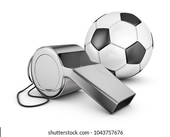 Referee whistle and soccer ball. 3d rendering.