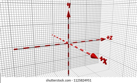 the reference system of the three-dimensional space of the Cartesian axes, on a black background