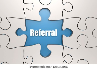 Referral word on jigsaw puzzle, 3D rendering