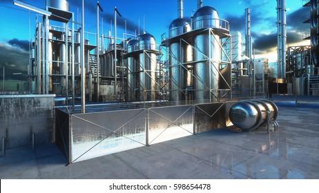 Refinery. Oil, petrolium plant. Metal Pipe. 3d rendering.