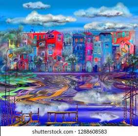 The reflection of colorful homes with clouds in water. Oil painting cityscape.